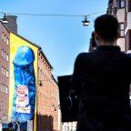 giant blue penis stockholm mural